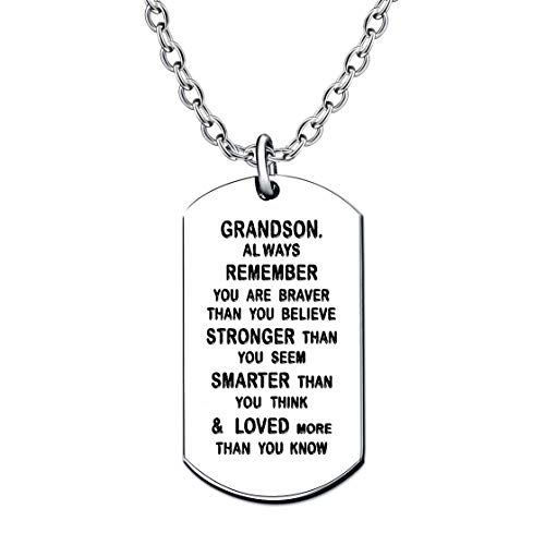 lauhonmin Dog Tag Necklace for Men Boy Grandson Gifts from Grandpa Grandma Inspirational You are Braver Stronger Smarter Than You Think