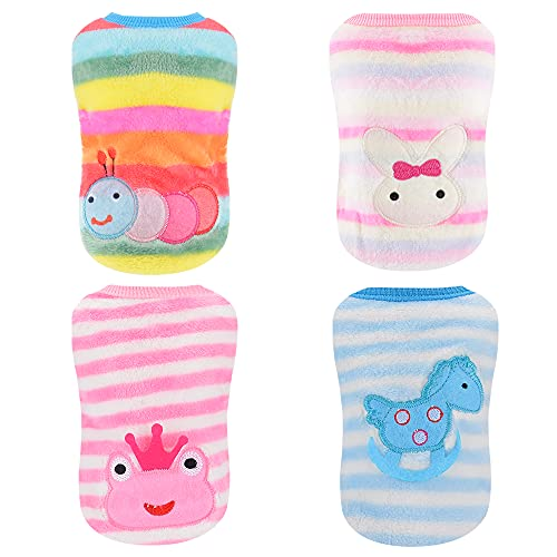 4 Pieces Small Dog Winter Clothes for Girls Sebaoyu Fleece Warm Pet Puppy Sweater Dog Outfit Vest Cute Female Vest Coat for Chihuahua French Bulldog Jacket (Caterpillars, X-Small)