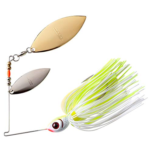 BOOYAH Blade Spinner-Bait Bass Fishing Lure, White Chartreuse, Double...