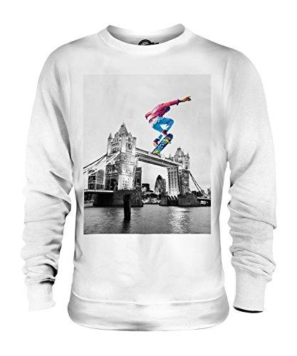 Candymix - Sudadera unisex para hombre y mujer, diseño de patinador en Londres Blanco blanco XS