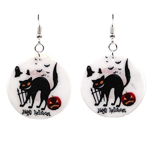 iTemer Personalidad Tema de Halloween Gato Negro Calabaza Zombie Pendientes Patrón Acrílico Material Unisex Pendientes Negro