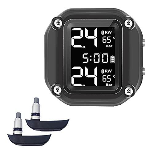 Fesjoy Sistema de monitoreo de presion en Llantas, Motocicleta Sistema de monitoreo de presión de neumáticos en Tiempo Real Pantalla Digital de Tiempo Alarma anormal Carga de succión magnética a