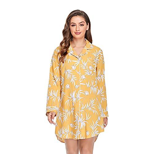 Sylanfia Camisón de Noche para Mujer, camisón de Manga Larga, Ropa de Dormir con Botones, Vestido de Pijama con Estampado Floral, Ropa de Dormir, salón