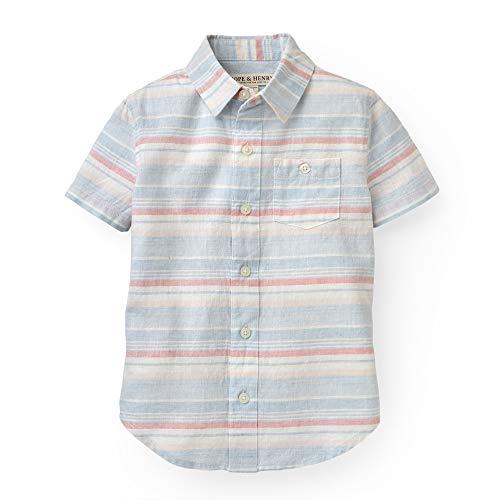 Hope & Henry Boys' Blue and Pink Slubby Poplin Short Sleeve Button Up