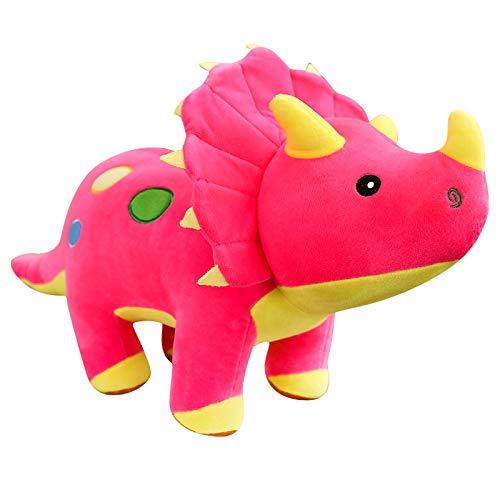 WWWL Juguetes suaves lindos de simulación de dinosaurio de peluche juguetes de dibujos animados realista triceratops muñeca suave juguete animal para niños niños bebé cumpleaños 60cm rojo