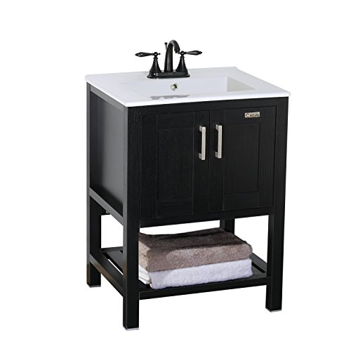 Eclife Furniture 24' Single Sink Bathroom Vanity with Ceramic Top with Centerset Vessel Sink Faucet, Espresso Finish, Modern Style (Classic 2)