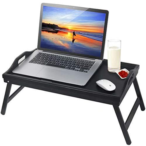 Jibanie - Bandeja de desayuno con patas plegables para mesa de cama, mesa de bambú portátil para regazo de madera, para servir cena, té, TV