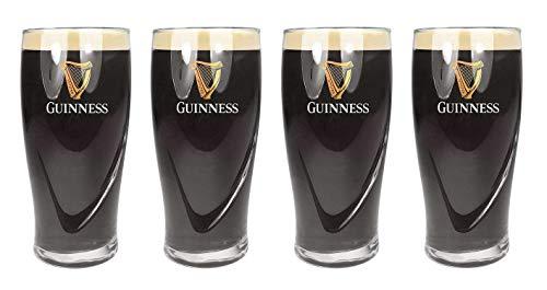 Guinness - Set di 4 bicchieri da birra originali, con logo e marchio impressi in rilievo, capacità 1 pinta (568 ml)