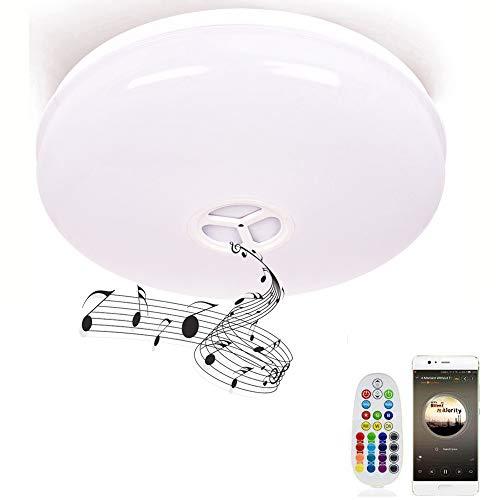 Deckenleuchte Badezimmer mit Fernbedienung und Bluetooth Lautsprecher Horevo IP65 Spritzwasserdichte Farbwechsel Deckenlampe, Warmweiß/Kaltweiße Badezimmerleuchte Badezimmerlampe