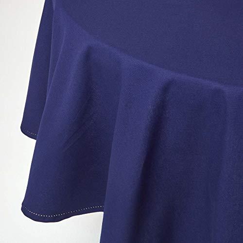 HOMESCAPES Nappe de Table Ronde, Linge de Table en Coton uni Bleu Marine - 178 cm