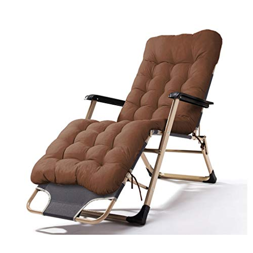 Chair Klappliegestühle Außen Reclining Zero Gravity, Extra Wide Adjustable Lounger for Patio Garden Beach Pool, mit Kissen Unterstützung 200kg (Color : Brown)