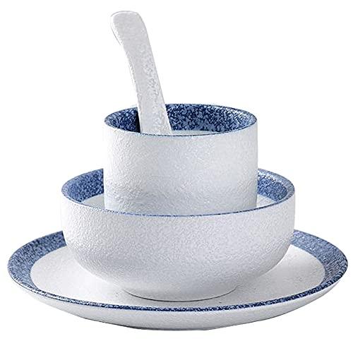 Vajillas combinadas Cuencos de cerámica de cuatro piezas de estilo japonés, cucharas, tazas de té, suministros de hoteles, buffets, restaurantes, vajillas Juego de cuenco y plato