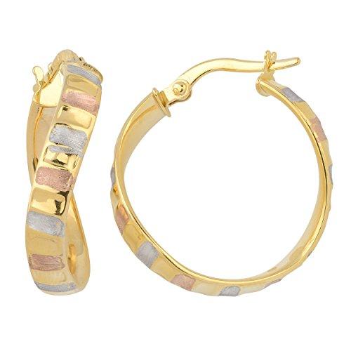 Kooljewelry 14k Tricolor Gold 4x20 mm High Polish and Satin Finish Twist Hoop Earrings