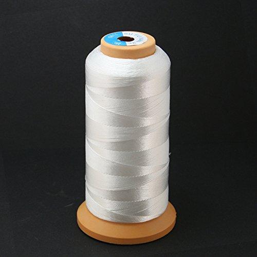 Fil à coudre en polyester blanc - Haute ténacité - 1829 mètres - Pour ameublement, marchés extérieurs, draperies, perles, bagages, sacs à main
