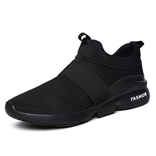 gracosy Sneakers, Herren Damen Laufschuhe Atmungsaktiv Gym Turnschuhe Fitness Unisex Sportschuhe Freizeitschuhe Low-Top Slippers Schwarz 40