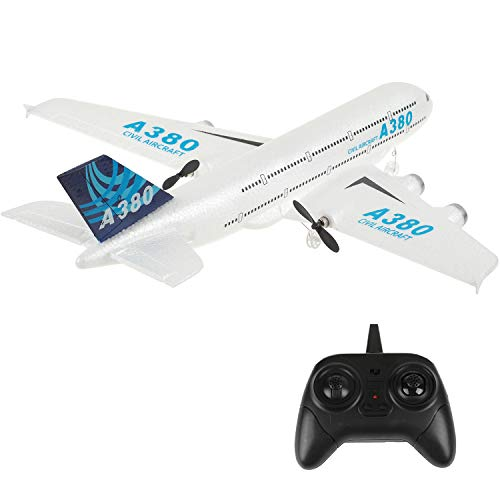 PLRB TOYS RC Plane 2.4Ghz 2 Channel Remote Control Airplane Ready to Fly, RC Aircraft Builted in 6-Axis Gyro, A380 RC Aircraft for Kids Boys EPP Beginner Glider