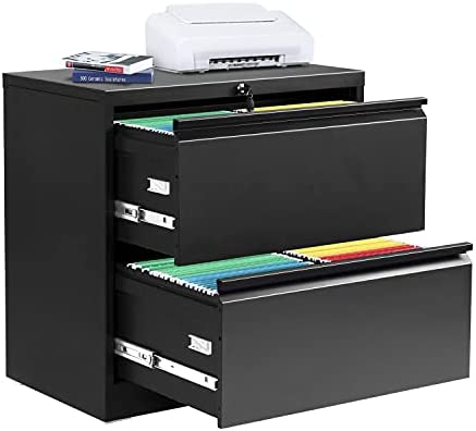 2 Drawer Lateral File Cabinet with Lock, Metal Office Lateral Filing Cabinet, Pataku Large Capacity File Cabinet for Home and Office, Black