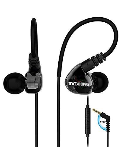 MOXKING Sport Kopfhörer Bügel mit Kabel - Stereo Bass In Ear Ohrhörer Wasserdicht mit Lautstärkekontrolle Mikrofon für Sport Noise Cancelling Headphone Earphone für Android IOS Mp3 Game, Schwarz