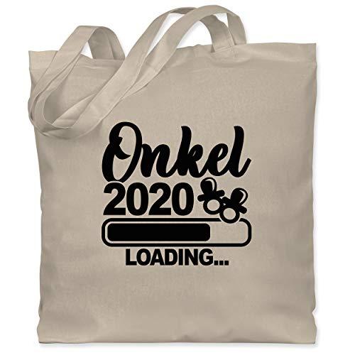 Shirtracer Bruder & Onkel - Onkel 2020 loading mit Schnullern - schwarz - Unisize - Naturweiß - Fun - WM101 - Stoffbeutel aus Baumwolle Jutebeutel lange Henkel