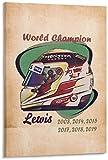 Kribee Póster artístico de F1 Campeón del Mundo Racing DriverLewis Hamilton Casco de Lewis y arte de pared, impresión moderna para decoración de dormitorio familiar, 50 x 75 cm