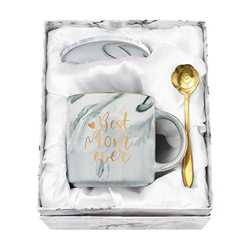 Best Mom Ever Coffee Mug Mom Mother Gifts Novelty Gifts for Mom from Daughter Son Women Mom Gifts for Mom Mother Marble Mug with Exquisite Box Spoon 12 Oz Gray