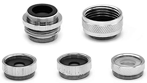 SmarterFresh Five Piece Female Faucet Adapter Kit, Brass Aerator Adapter Set to Connect Garden Hose, Water Filter, Standard Hose via Diverter, in RV & Other