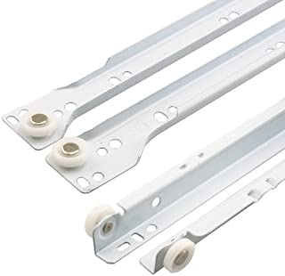 "Prime-Line R 7212 Drawer Slide Kit – Replace Drawer Track Hardware – Self-Closing Design –Fits Most Bottom/ Side-Mounted Drawer Systems –19-3/4"" Steel Tracks, Plastic Wheels, White 1 Pair (2 LH, 2 RH)"