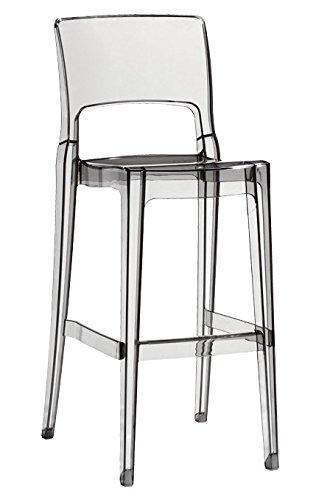 Scab Design Sgabello da Bar Trasparente impilabile con poggiapiedi ISY ANTISHOCK
