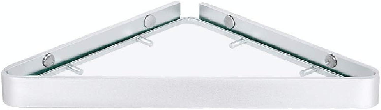 XSJJ Bathroom Glass Shelf, Wall-Mounted Punch-Free Glass Corner