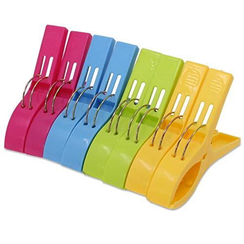 KEESIN Clips de Toalla de Playa Duraderos Color de Moda Clavijas de Toalla de Plástico de Gran Tamaño Clips de colcha para Hamacas o Piscina, Paquete de 8 (rosa rojo)