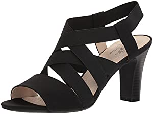 LifeStride Women's Charlotte Heeled Sandal, Black, 8.5 W US by LifeStride