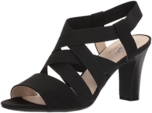 LifeStride womens Charlotte Heeled Sandal, Black, 7.5 US