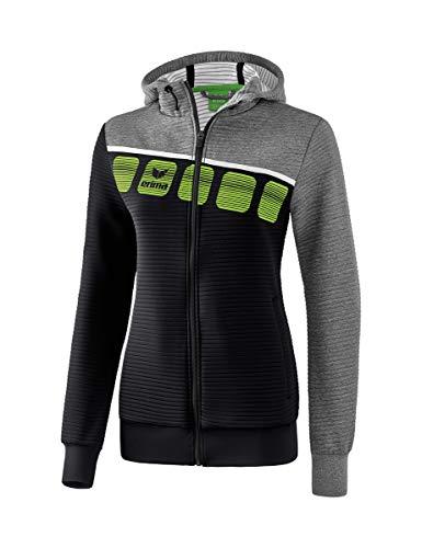 Erima 5-C Veste d'entraînement avec Capuche Jacket Femme, Noir/Gris chiné/Blanc, FR : 4XL (Taille Fabricant : 48)