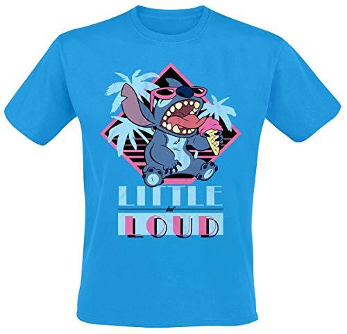 Lilo & Stitch Little But Loud Hombre Camiseta Azul S, 100% algodón, Regular