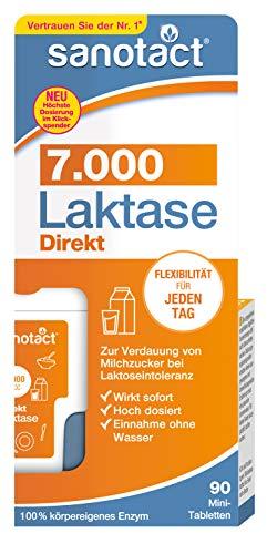 sanotact Laktase 7.000 FCC Mini-Tabletten - 90 Stk, Nahrungsergänzung mit Laktase, Verdauung von Milchzucker bei Laktoseintoleranz, praktischer Klickspender, 7 g