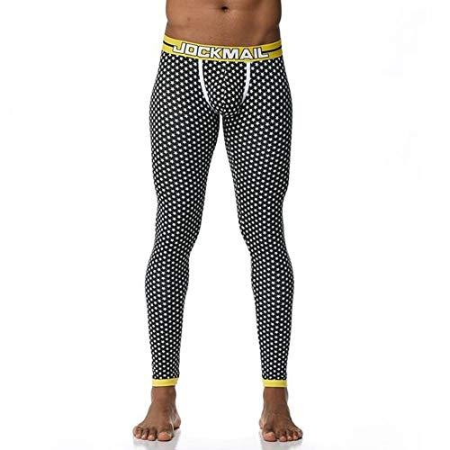 ACC Ropa Interior térmica de los Hombres Impreso Pantalones, algodón de Invierno Long John Gas Deportes Medias Polainas Ocasionales Adelgazan,B,L