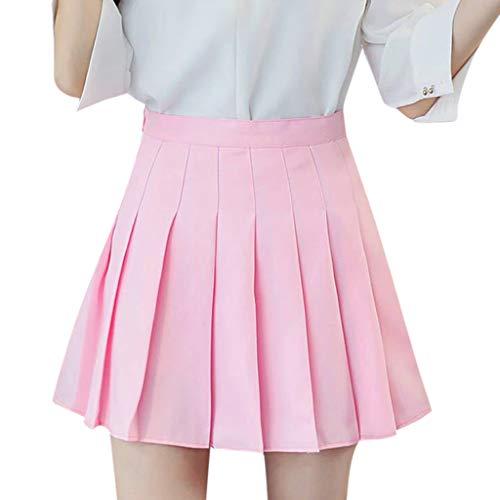 FOTBIMK Falda de mujer, de cintura alta plisada mini falda delgada cintura casual falda de tenis corta cintura alta plisada patinador tenis escuela falda
