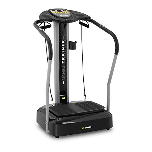 Gymrex Plateforme Vibrante Et Oscillante Plate-Forme Plateau Vibrant Plaque Sport Musculation Machine pour Maigrir GR-MG39 (Max. 120 kg, Surface 53 x 37 cm, 2 Bandes, Mesure La Graisse, Ampl. 12mm)