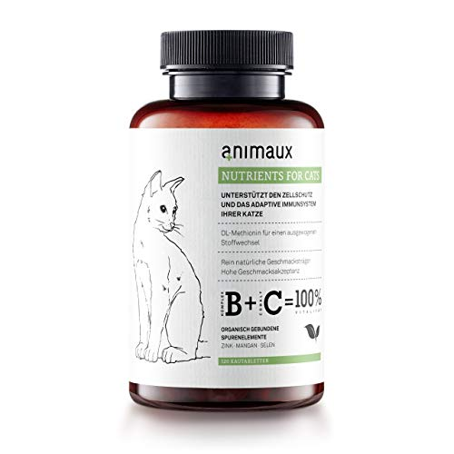 animaux – nutrients for Cats | Katzen-Vitamine | Zink, Mangan, Selen, DL-Methionin | Unterstützt gesunde Haut und EIN glattes, glänzendes Fell | 120 Tabs
