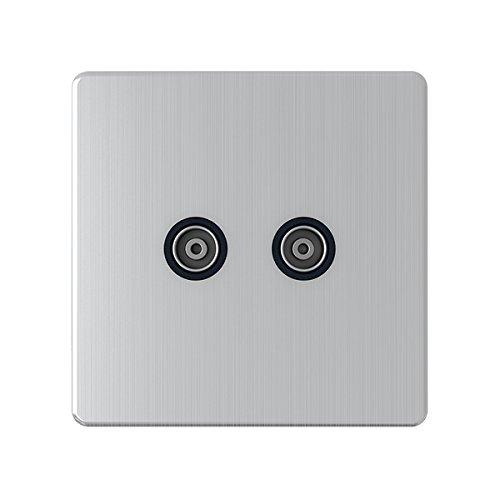 Aet SL2GTVBL - 2 enchufe de pared televisión sin tornillos con inserto negro