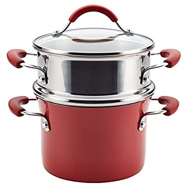 Rachael Ray Cucina Hard Porcelain Enamel Nonstick Multi-Pot/Steamer Set, 3-Quart, Cranberry Red