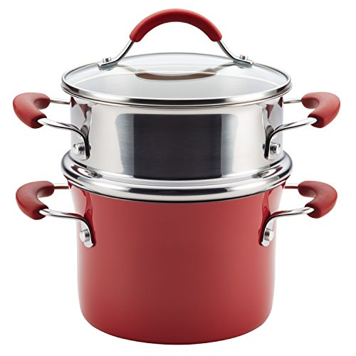 Rachael Ray Cucina Nonstick Sauce Pot/Saucepot with Steamer Insert and Lid, 3 Quart, Cranberry Red