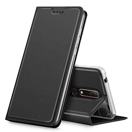 Verco Handyhülle für Nokia 6.1, Premium Handy Flip Cover für Nokia 6.1 Hülle [integr. Magnet] Book Hülle PU Leder Tasche [Nokia 6 2018], Schwarz