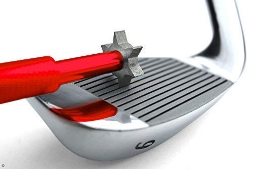 TickTockGolf: Golf Club Groove Sharpener - Golf club cleaner and club repair. Golf accessory improves backspin & ball control on all wedges and irons - ideal golf gift. (Red)