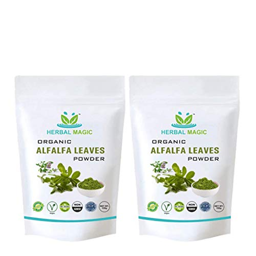 Herbal Magic's Certified Organic Alfalfa Leaf Powder 100g - Rich in Vitamin C A Calcium - Whole Plant Used - (Alfalfa Leaf Powder - Pack 2)