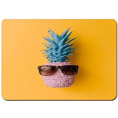 kThrones Antideslizante Alfombra De Baño,Gafas de Sol de piña Rosa sobre Amarillo Brillante,Alfombra de Cocina Alfombra Mascota,Alfombras de Ducha 75x45cm