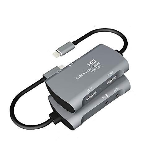 WJESOG HDMI zu USB C Videoaufnahmekarte Unterstützt 4K@30Hz Eingang und 1080P 60fps Ausgang, Unterstützt MIC, HDMI Out,