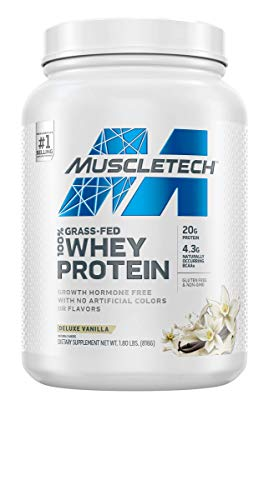 Grass Fed Whey Protein | MuscleTech Grass Fed Whey Protein Powder | Protein Powder for Women & Men | Growth Hormone Free, Non-GMO, Gluten Free | 20g Protein + 4.3g BCAA | Deluxe Vanilla, 1.8 lbs