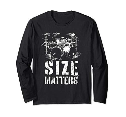 Riesen Schlagzeug Geschenk für Schlagzeuger Size Matters Langarmshirt
