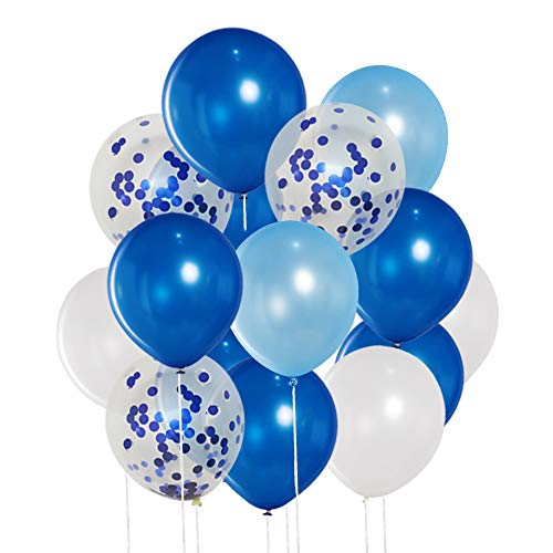 50 Pcs 12 Inches Blue and White Balloons, Blue Confetti Balloons, Royal Blue and Light Blue Balloons, Helium Balloons for Birthday Party Decorations Baby Shower Balloon Garland Arch Blue Graduation